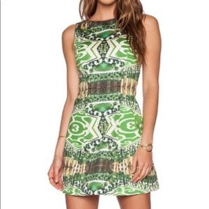 Alice + Olivia Dresses - Alice and Olivia green patterned cocktail dress